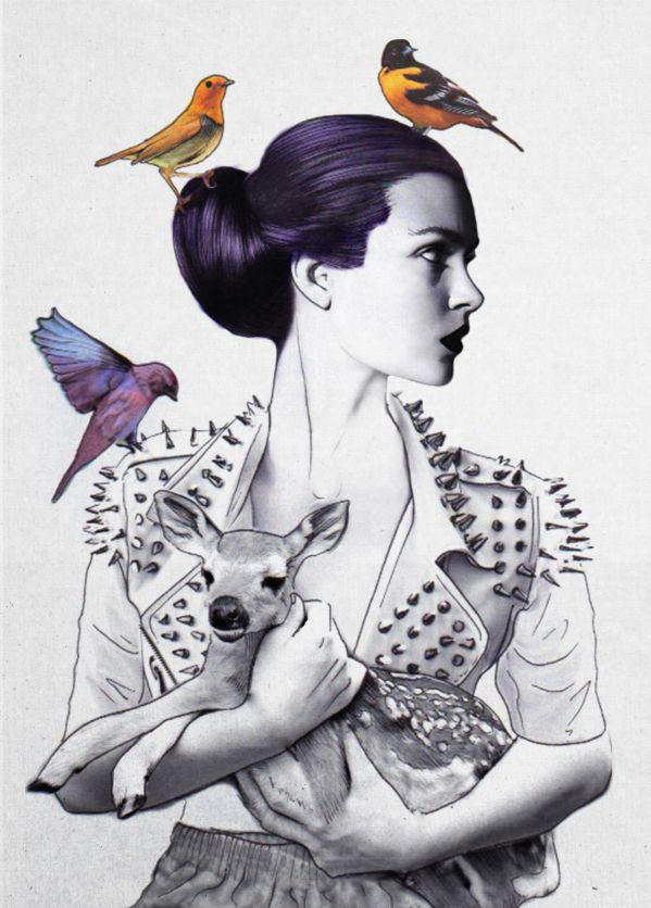 Jenny Liz Rome | Princess Spike #birds #illustration #design #peint #style #deer #fashion_illustration
