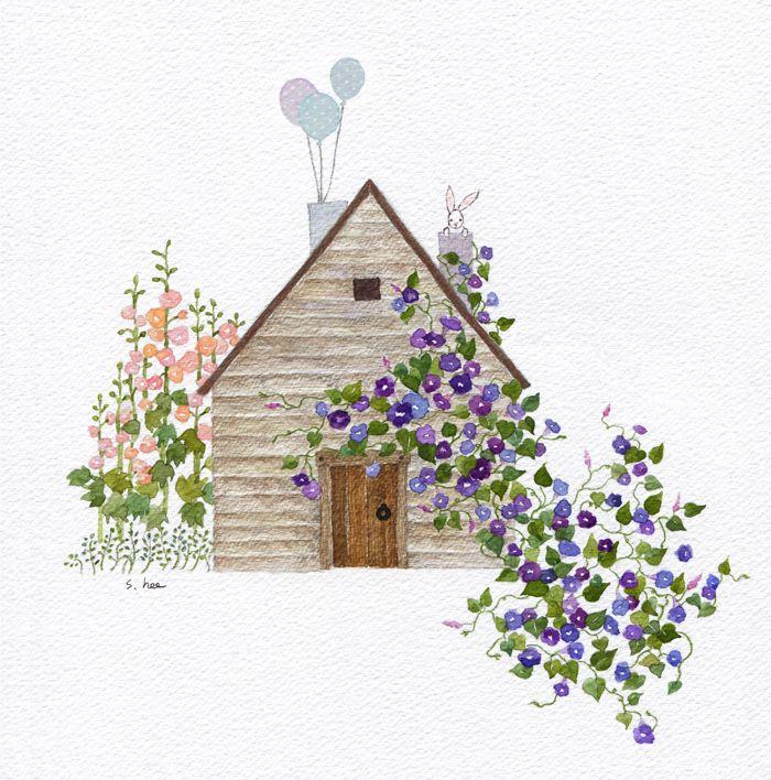 친구가 심어둔 나팔꽃 덩쿨은 밤새 마법처럼 자라나  나의 작은집을 덮었습니다. 아침 햇살에 일제히 나팔꽃 덕분에 나의 아침은 축제가 되었고 나의 작은집은 지나치는 모든 이들이 즐거워하며  자연스레 인사를 건네는 행복한 집이 되었습니다.....