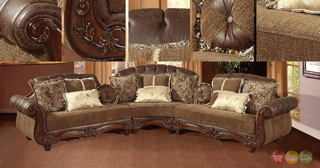 Traditional Victorian Styled Sectional Sofa Exposed Wood & Faux Leather