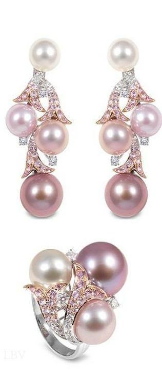Yoko London ~ Pearl Ring & Earrings, Pink - by Cris Figueired♥