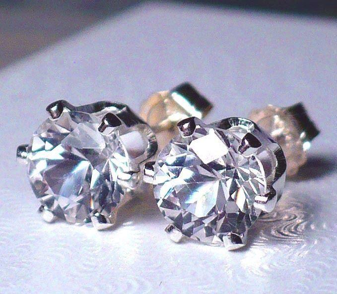 NEW Silver EARRINGS 6mm 1ct each VVS+ Exceptionally Bright White Brazilian TOPAZ #Handmade #Stud