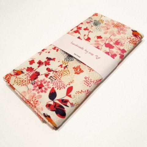 Pink Birdy Numnum Tea Towel