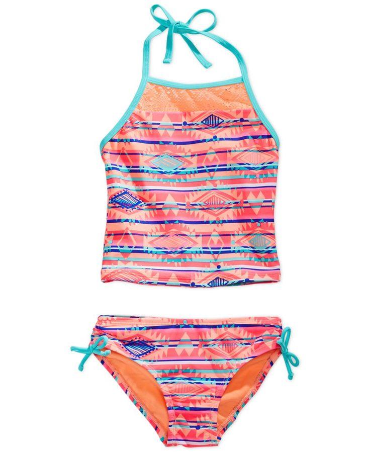 Breaking Waves 2-Pc. Aztec Stripe Tankini Swimsuit, Little Girls (2-6X)