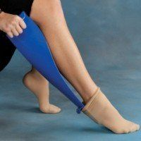 Sock-eez Compression Sock Removal Aid by Ableware. $33.50. Sock--eezª, an assisted daily living dressing aid was developed and designed for those who suffer from Lymphedema, Deep Vein Thrombosis, Arthritis and Edema. The elderly and the physically challenged also benefit from the use of this remarkable, ergonomic dressing aid that removes the thickest and tightest compression hose with one easy strain free motion. Never have trouble removing your compression socks again. ...