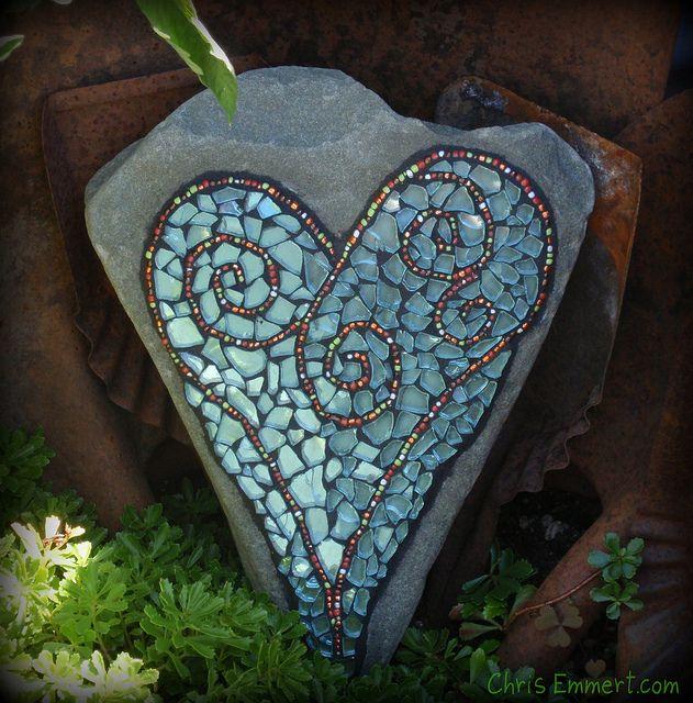 Mosaic heart rock- great idea for the garden