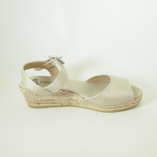 6e6808be8bd PASEART Beige Low Wedge Espadrille