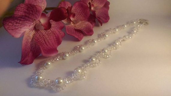 Bridal necklace  glass pearls and crystal heart clasp
