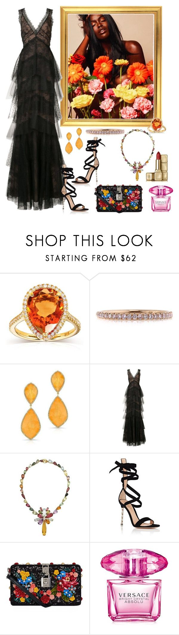"""""""Shine Bright"""" by aharcaki on Polyvore featuring Annello, Mark Broumand, Notte by Marchesa, Gianvito Rossi, Dolce&Gabbana, Versace and Guerlain"""