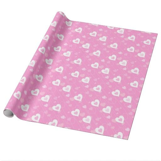 Pink and White Hearts Pattern Wrapping Paper