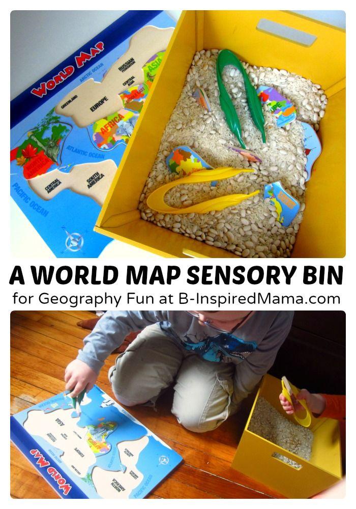 A World Map Sensory Bin: Fun with Geography   B-Inspired Mama