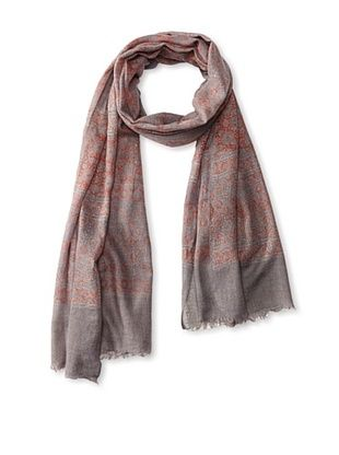 71% OFF MILA Trends Women's Hand Block Print Wool Scarf, Brown/Red Multi