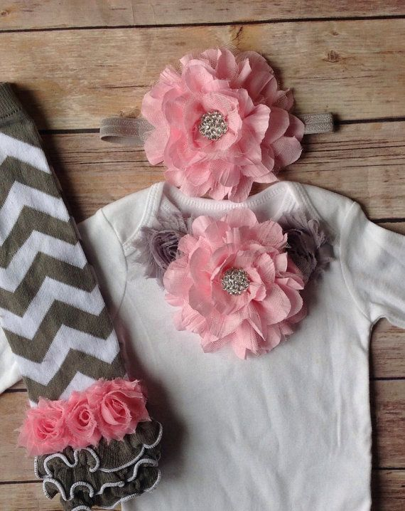 Pink Gray Grey Baby Girl Outfit Baby Girl by AvaMadisonBoutique