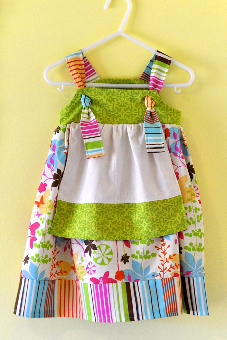 Snow white apron etsy - Children S Apron Knot Dress In Floral Butterfly Motif Size 3 Months To 4t