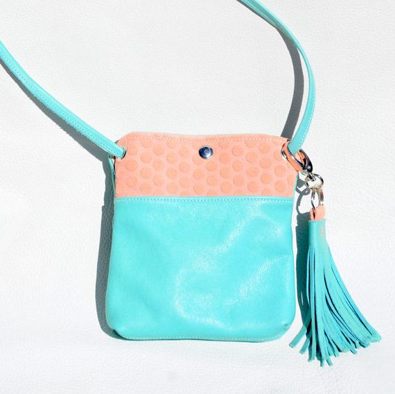 Small crossbody leather purse | Turquoise and Pink ladies handbag | Fringe keychain purse accessory and bag