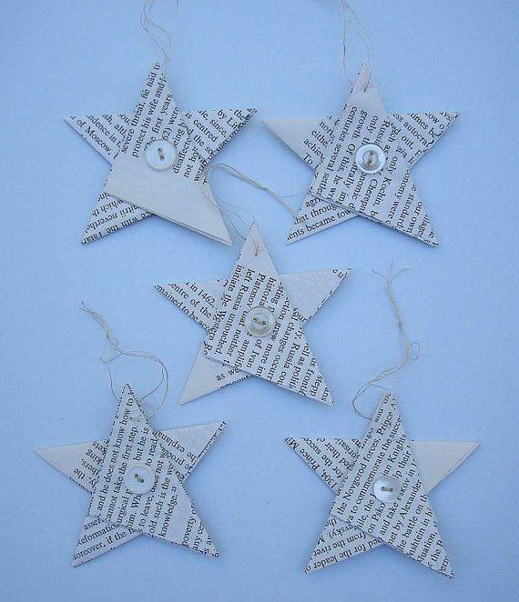 Stelle di ornamenti di Natale stella di carta di Rethreading