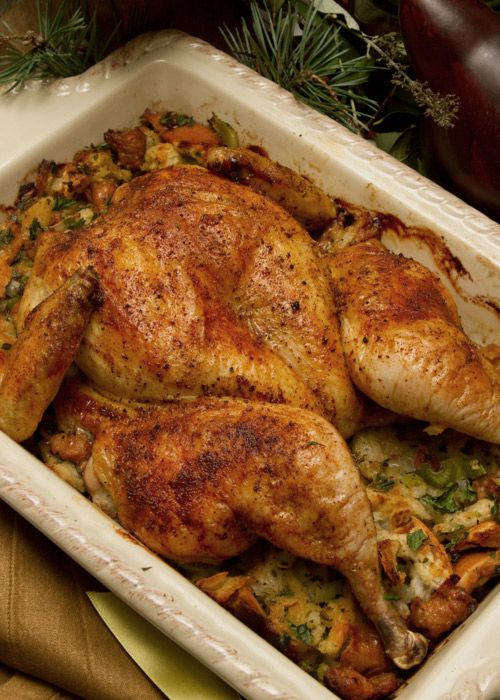 Easy Herb-Rubbed Roast Turkey With Stuffing And Giblet ...