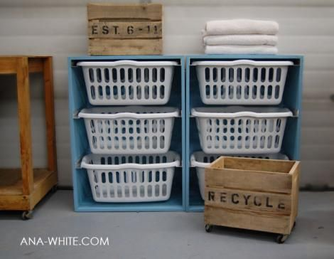 Thinking this will be a fantastic way to organize the laundry room, maybe spray the baskets a different color for each person. . .