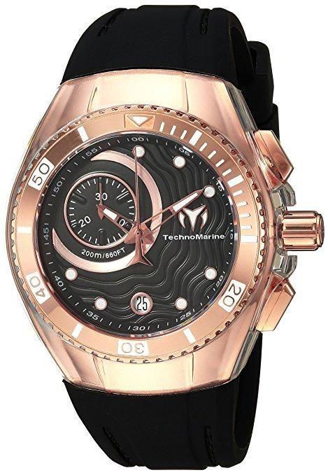 Technomarine Cruise One Rose Gold Case Black Rubber Strap Chronograph Women's Watch TM-115382