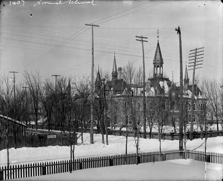 The corner of Elgin and Lisgar streets in February, 1893. Ottawa Normal School on the northeast corner ... now part of City Hall.