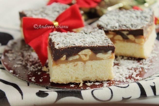 Prajiturele cu alune, caramel si ciocolata