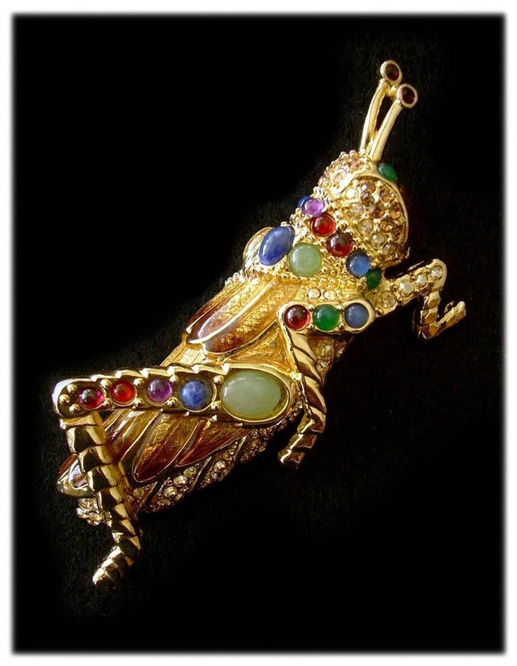 JUDITH LEIBER 18K Gold Plated Cabochon Glass Jimmie Grasshopper Brooch.: