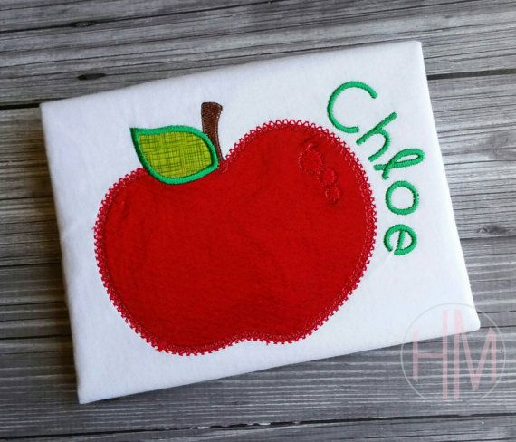 Apple  Back To School Applique Shirt by HMembroideryCo on Etsy