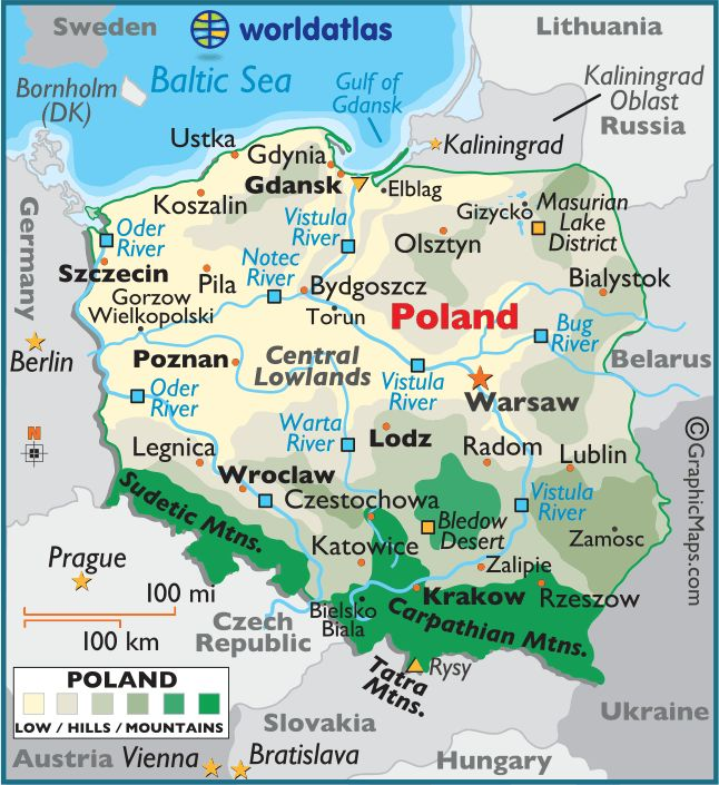 Physical map of Poland
