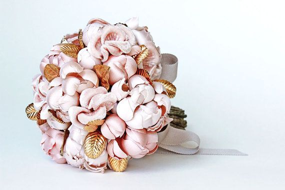 Couture Gold Plated Leaf Blush Silk Fabric Bouquet by EmiciLivet