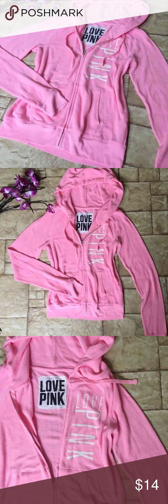 "Victoria's Secret PINK Jacket Absolutely BEAUTIFUL! Jacket Hoodie Zip Up from Victoria's Secret PINK ! Size small but oversized can fit medium. Very stretchy. (: Has ""Love Pink"" in front.   Minor light stains haven't tried taking them out. Pre used conditions. Does have factory distressed pockets .definite MUST have ❤  ❤️   Attention Scammers: I videotape packaging before shipping out; I will involve authorities if needed. Mail Fraud is a felony and will not be taken lightly.. so scam…"