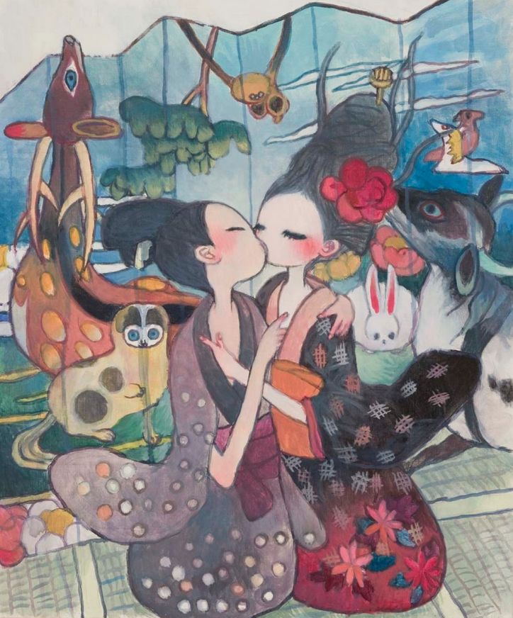 Aya Takano, I know that just kiss will take me far away, 2006, Acrylic on canvas, 72,7 x 60,6 cm