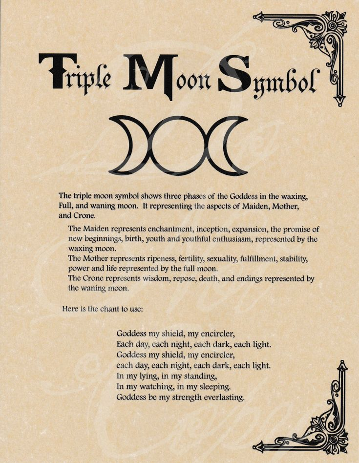 Book of Shadows page - Triple Moon Symbol & Goddess Chant  picclick.com