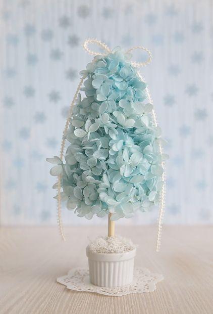 紫陽花のミニツリー型トピアリー【ブルー】