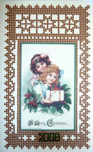 Carte sur carton perforé - Aurelle