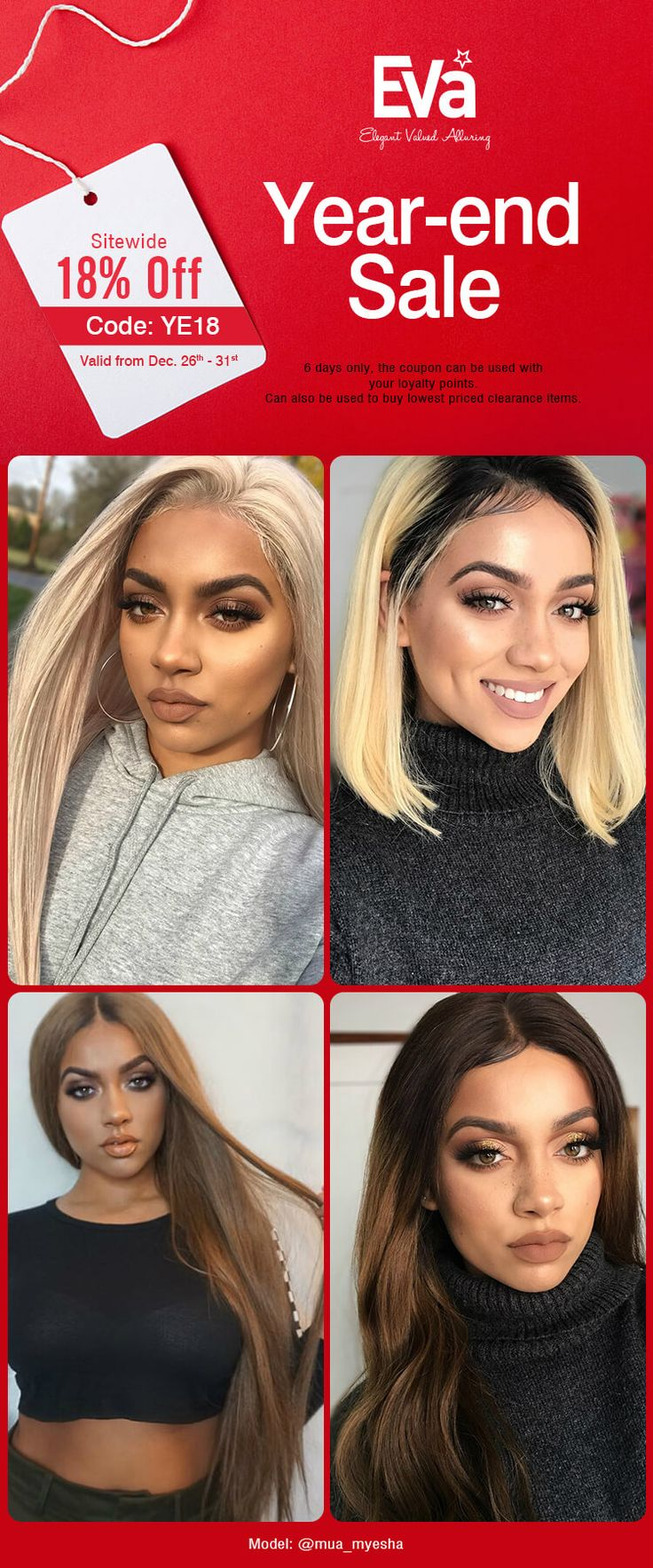 Year--end sale now!18% off sitewide. Shop for your new year's look at EvaWigs.com #wig#hair#hairstyle#wavyhair#blondehair#brownhair#hairstyle#sale#humanhair#longhair#bob#lob