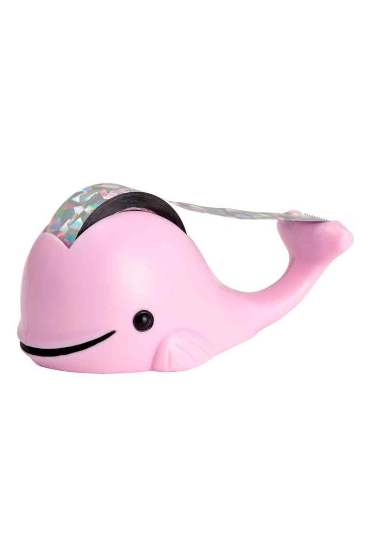 Tape dispenser: Plastic tape dispenser. Contains one roll of tape. Size approx. 14x15 cm.