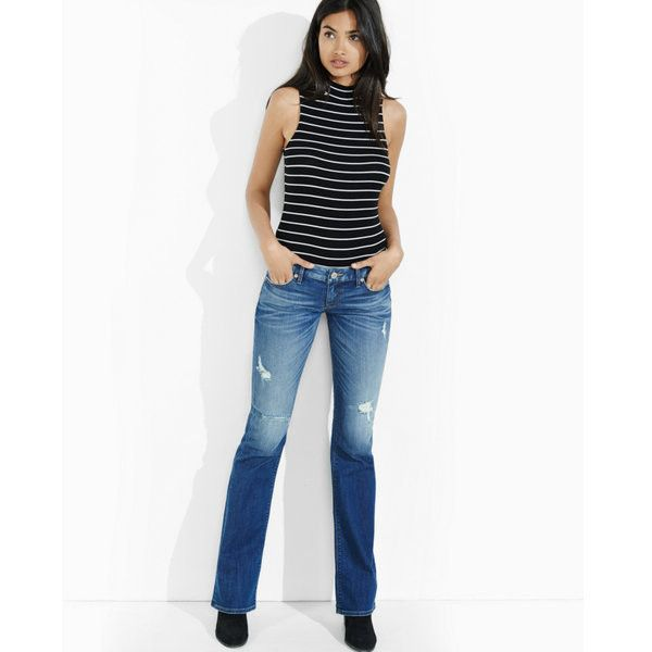 Express Distressed Dark Low Rise Bootcut Jean ($80) ❤ liked on Polyvore featuring jeans, blue, boot-cut jeans, slim fit bootcut jeans, blue jeans, white bootcut jeans and white destroyed jeans