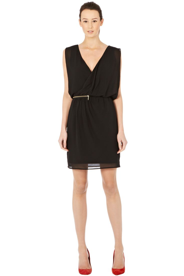 Warehouse ZIP DETAIL WRAP DRESS