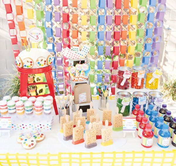 rainbow-paint-party-sweets-tableArt Party, Art Parties, Birthday Parties, Rainbows Parties, Painting Parties, Parties Ideas, Paint Party, Paper Chains, Birthday Ideas