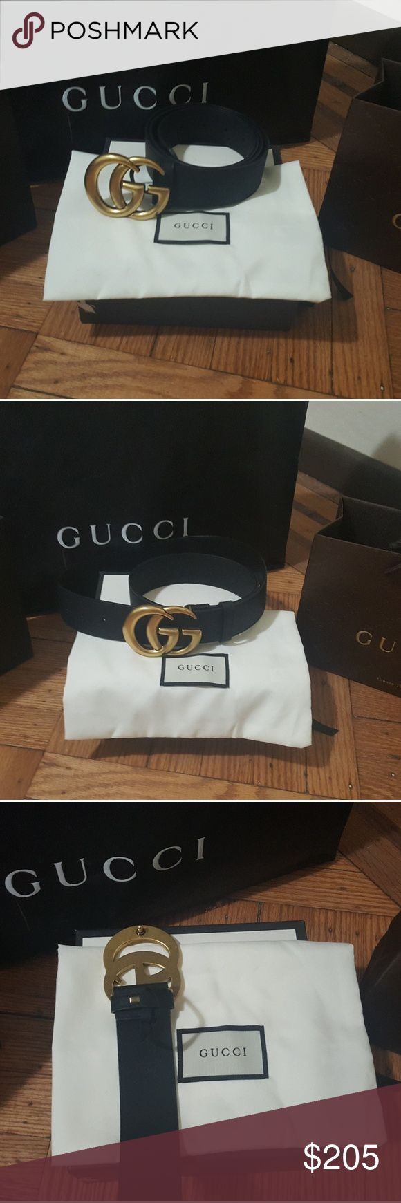 Brand new Gucci belt Brand new black leather Gucci belt with tag with double G buckle gold brass comes with box and dust bag. Gucci Accessories Belts