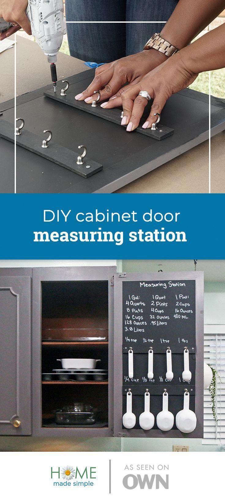 All It Takes Is Some Chalk Paint And Hooks To Add A Smart And Simple Measuring Station To Your Kitche Home Made Simple Diy Cabinet Doors Cheap Kitchen Cabinets