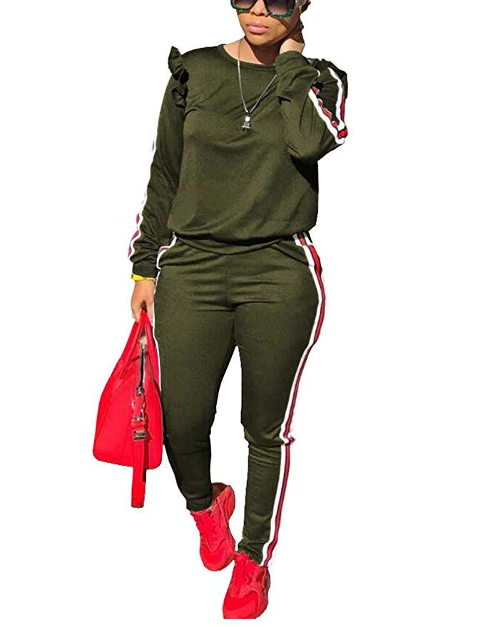 761d7c2c4d6a Fall Two Piece Set Tracksuit Long Sleeve Sweatshirt and Pants Casual  Tracksuit Sweatsuit for Ladies Army Green S