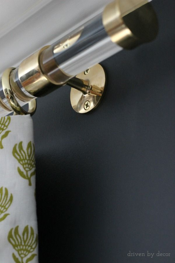 The brass supports: are 1.5″ OD polished brass railing brackets ordered from Buy Railings {here} – they were sourced by Kristin of The Hunted Interior when she installed her gorgeous lucite rods that you can check out {here}. My window is quite wide so I have three brackets – one a few inches in from each end: