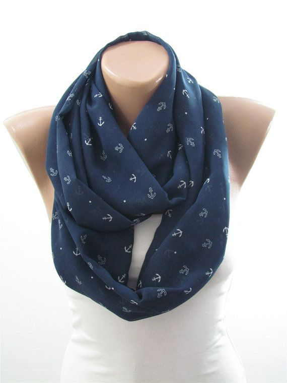 Anchor Scarf Infinity Scarf Navy Blue Circle Scarf Nautical