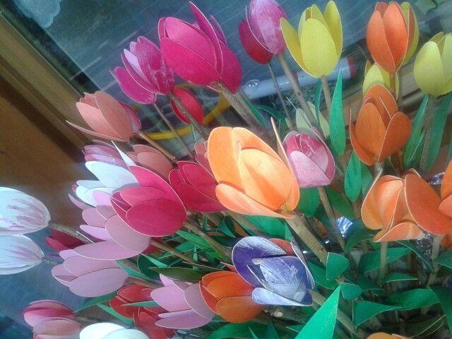 Tulipani in rosa arancio e giallo