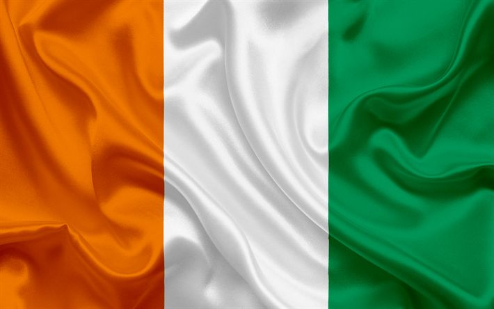 Download wallpapers flag Cote dIvoire, South Africa, African flags, silk flag