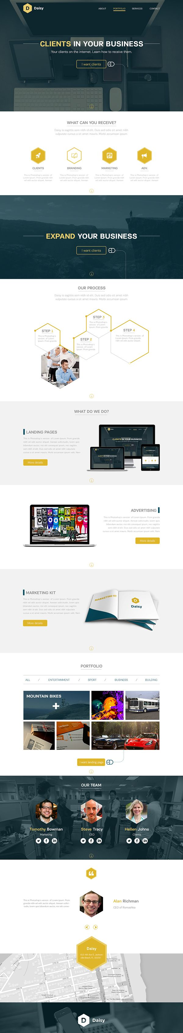 Simple clean stylish website. Love the 'steps' stack. Daisy - Landing Page Concept