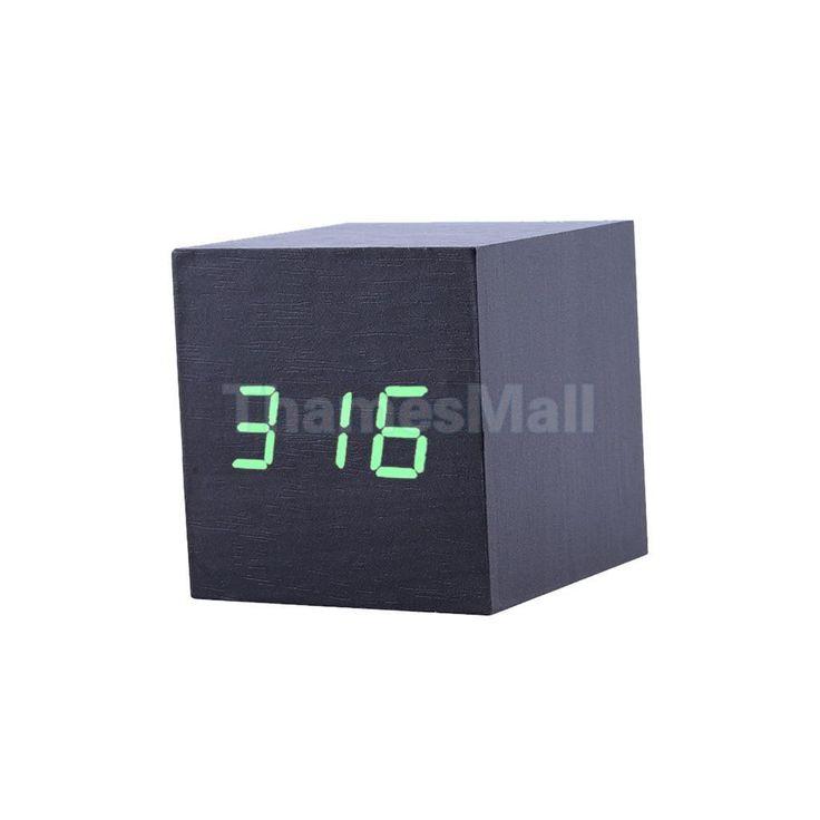 Square Digital Snooze Alarm Clock Green Led Dimmer Room Temperature Black