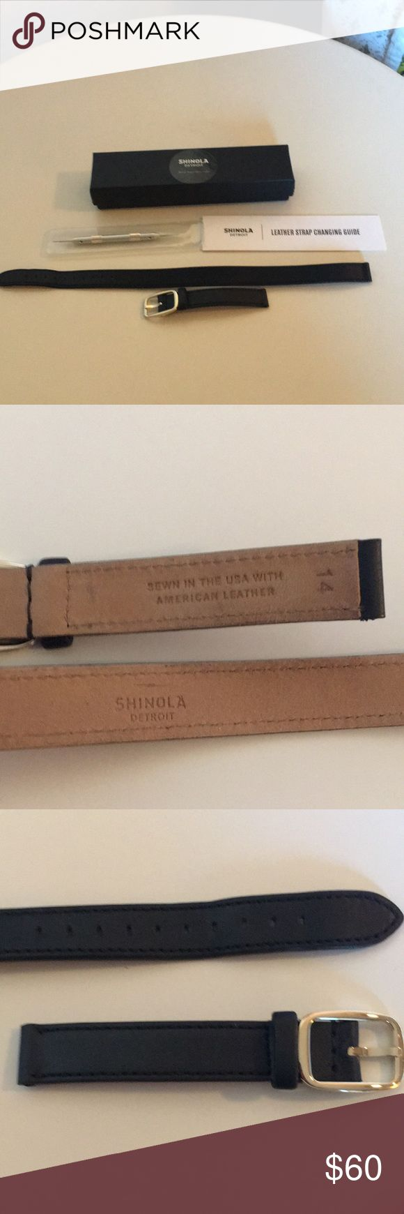 Shinola Detroit Black 14mm Double Strap Lk New Shinola Detroit black double strap leather watch strap. Like new condition. No signs of wear. Gold buckle. Comes with box, tool, and directions. Shinola Accessories Watches