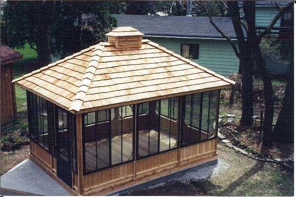 Cool rectangular screened gazebo... Would paint wood white and match roof shingles to the house and shed