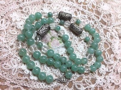 """Green Adventurine Bead And Crystal Necklace 24"""" Long Vintage"""
